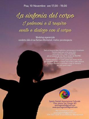 venerdì 10 Novembre 2017 - LA SINFONIA DEL CORPO: I POLMONI ED IL RESPIRO. SENTO E DIALOGO CON IL CO