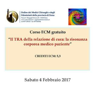 Siena, Sabato 4 Febbraio - Il TRA della relazione di cura: la risonanza corporea medico paziente.