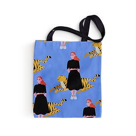 Menina e Tiger Tote Bag