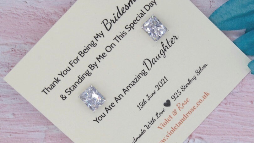 Large 925 Sterling Silver & Swarovski Crystal Bridesmaid Thank Gift