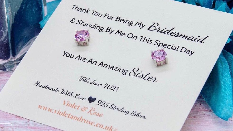 925 Sterling Silver & Pink Swarovski Crystal Thank You Gift