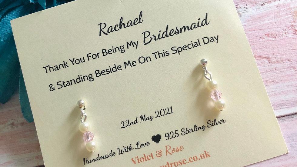 925 Sterling Silver, Swarovski Crystal & Freshwater Pearl Earrings  Gift