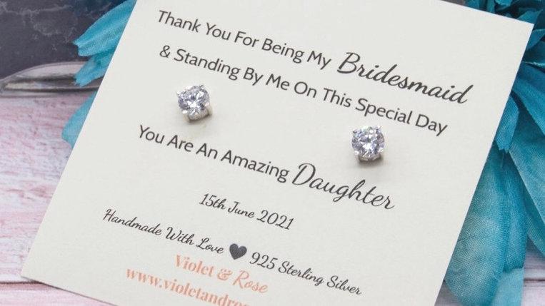 925 Sterling Silver Round Cut Swarovski Crystal Thank You Gift