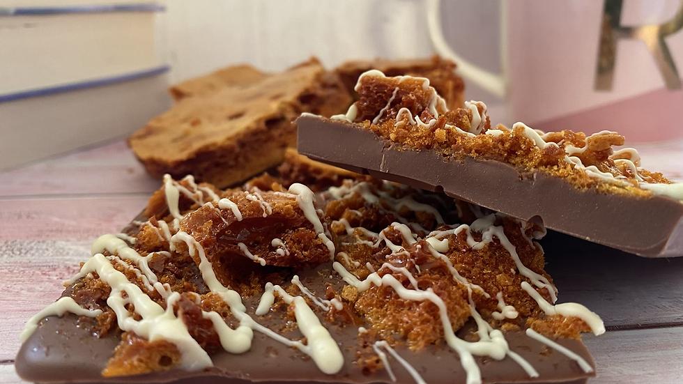 Honeycomb topped Belgian milk chocolate slab