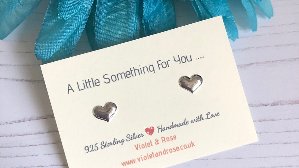 'A little something for you gift' - Sterling Silver Heart Studs