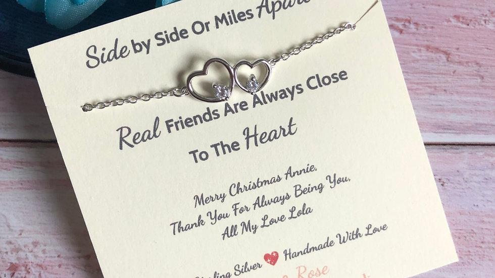 Personalised Friendship 925 Sterling Silver Bracelet Gift