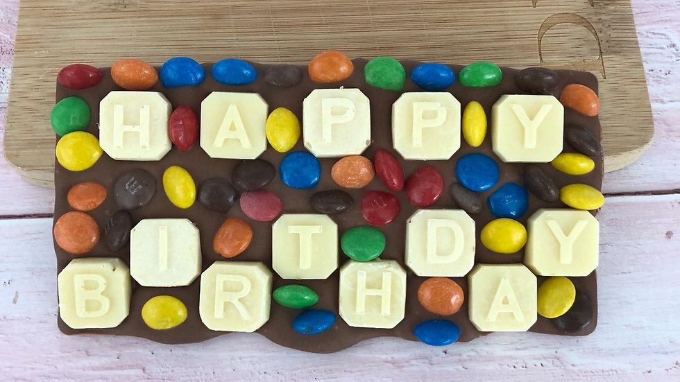 Happy Birthday Belgian Chocolate Slab