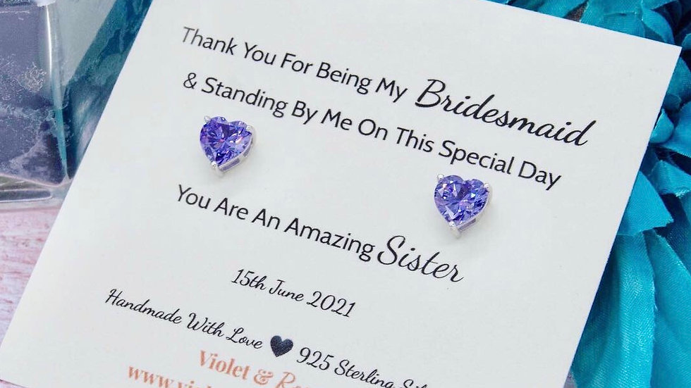 925 Solid Sterling Silver & Purple Heart Shaped Swarovski Crystal Earrings