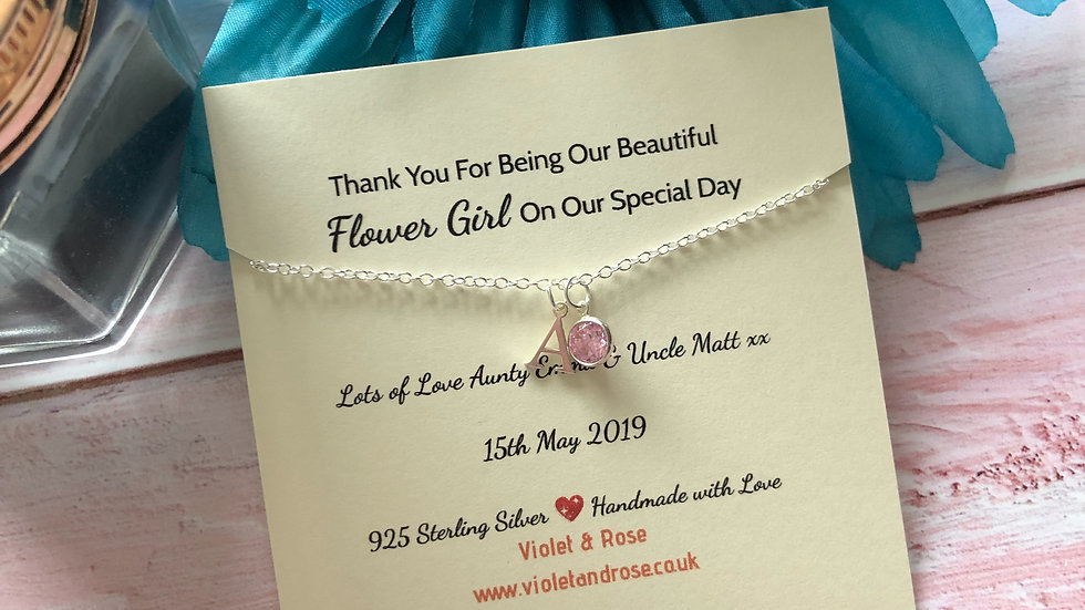 Personalised Flower Girl  925 Sterling Silver Initial & Crystal Charm Necklace