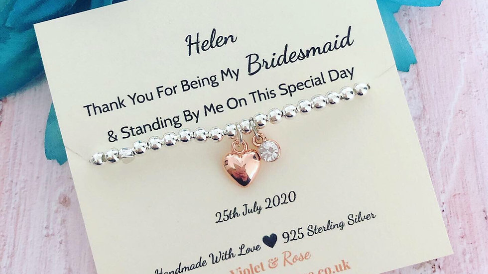 Silver & Rose Gold Charm Bracelet Thank You Gift