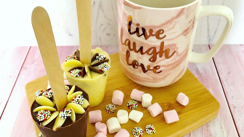 Handmade Large Belgian Hot Chocolate Spoon with Cadburys Buttons
