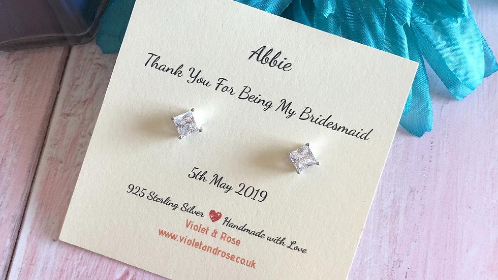 925 Sterling Silver & Swarovski Crystal Bridesmaid Thank You Gift