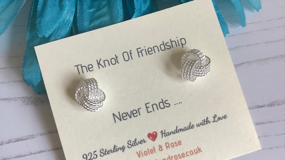 'The Knot of Friendship Never Ends' Sterling Silver Knot Studs
