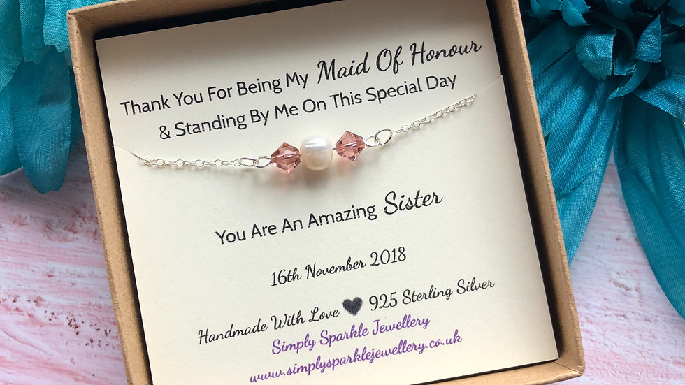 Fresh Water Pearl & Swarovski Crystal Bracelet Thank You Gift