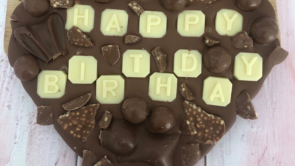 Large Heart Shaped Happy Birthday Loaded Belgian Chocolate Slab