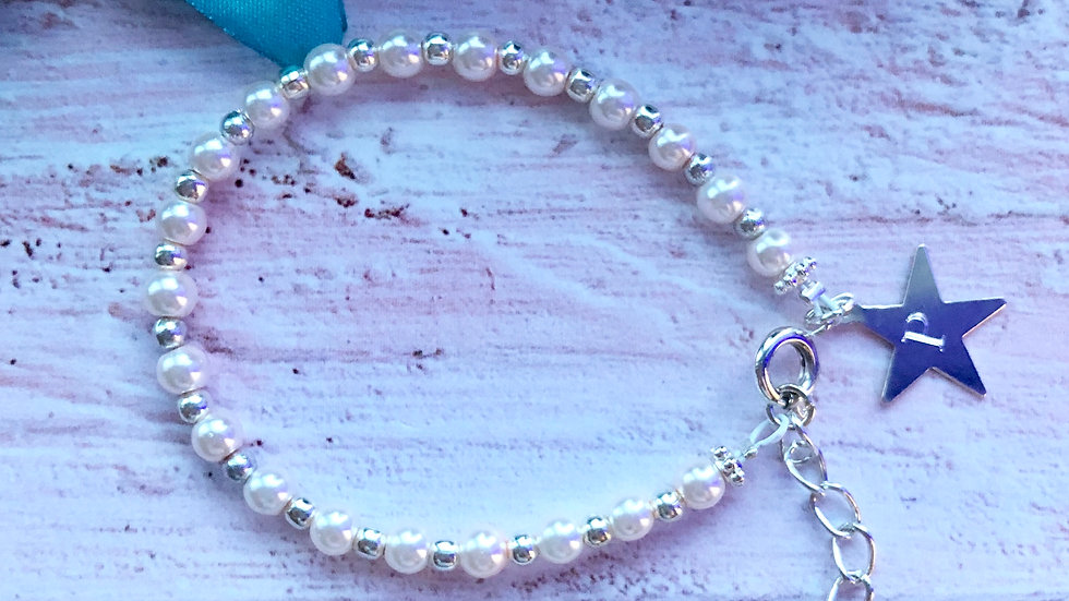 Blush Pink Pearl Bead and Sterling Silver Star Initial Bracelet