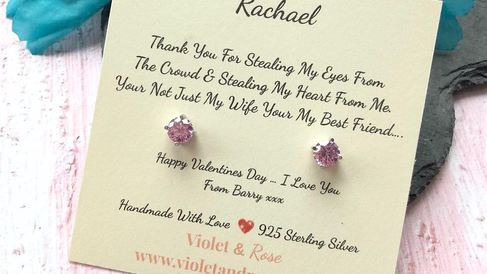 925 Sterling Silver & Swarovski Crystal Earring Gift - Wife/Fiance/Girlfriend