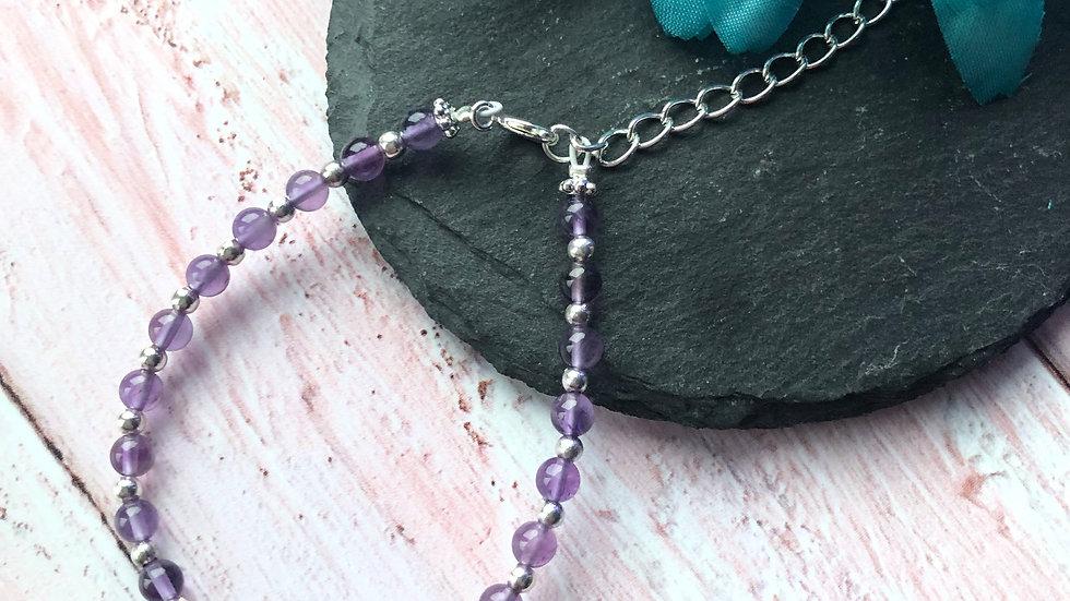 Purple Amethyst Gemstone Bracelet (optional personalisation)