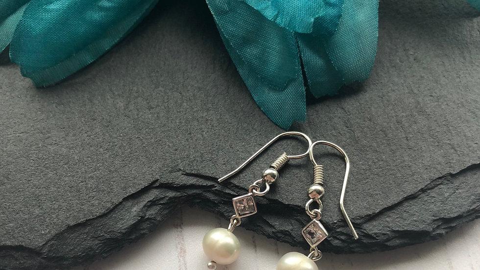 Fresh Water Pearl  and Crystal Bridal Drop Earrings