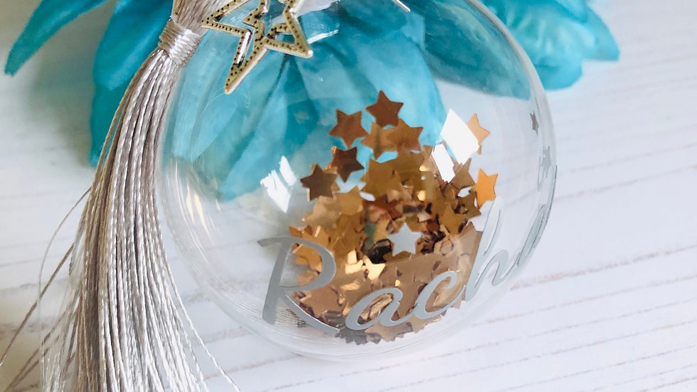 Personalised Rose Gold & Silver Christmas Bauble