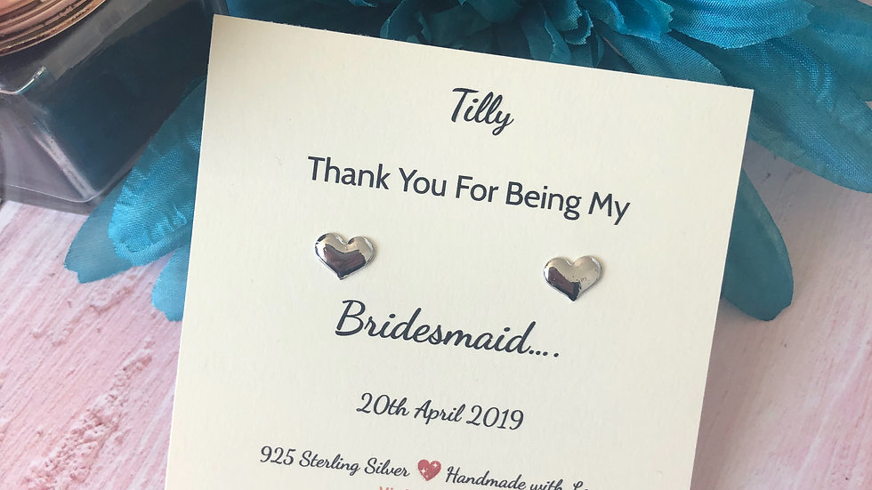 Thank You For Being My Bridesmaid Heart Stud Earring Gift