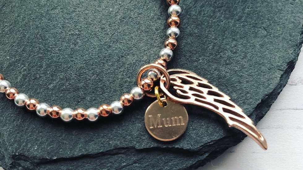925 Sterling Silver & 18k Rose Gold  Angel Wing Rememberance Bracelet