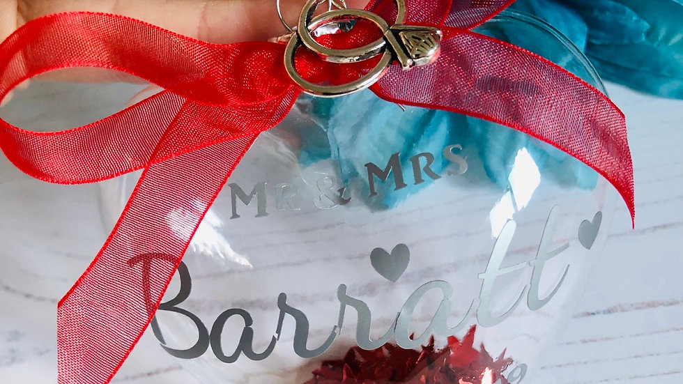 Personalised First Christmas Married Bauble