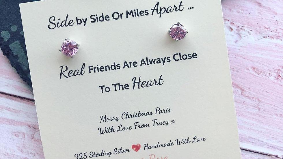 Baby Pink Swarovski Crystal & 925 Sterling Silver Friend Gift