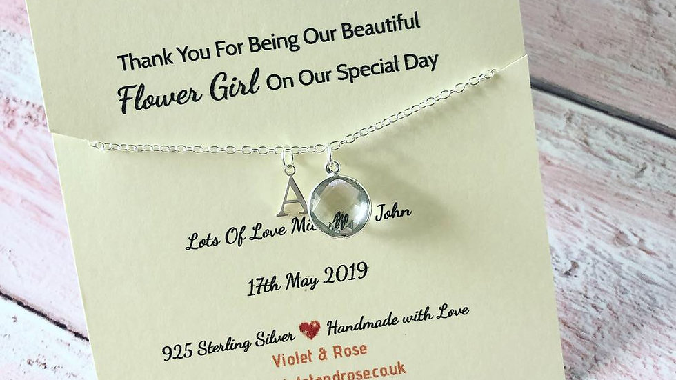 Personalised 925 Sterling Silver & White Topaz Gemstone Necklace