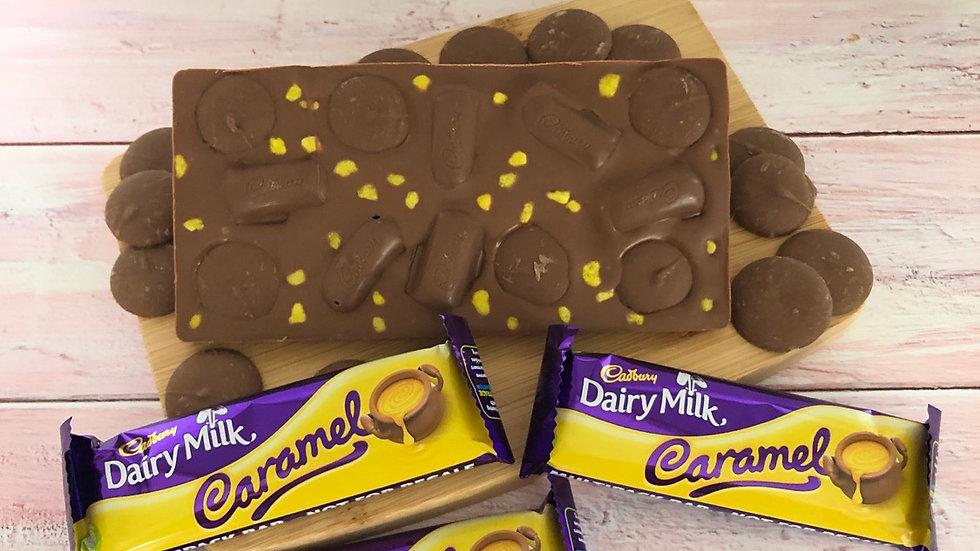 Handmade Belgian Chocolate Slab Tooped With Cadburys Caramel