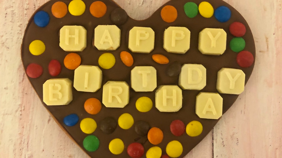 Large Belgian Happy Birthday Chocolate Heart