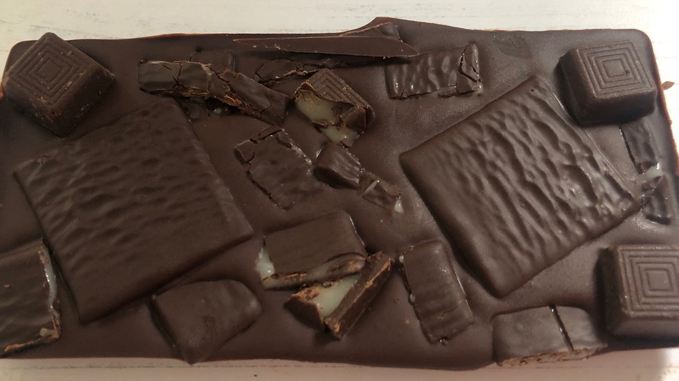 Dark Belgian chocolate After Eight Loaded Chocolate Slab