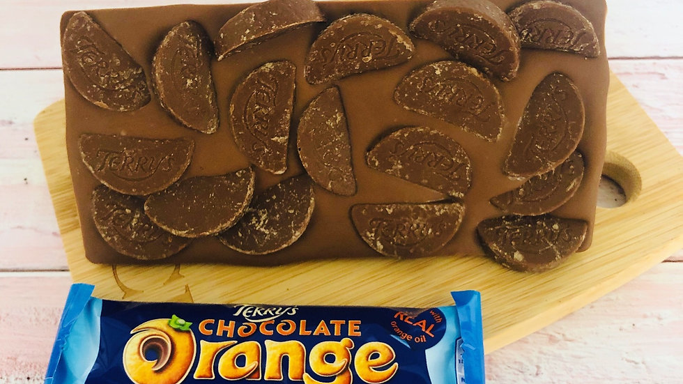 Handmade Belgian Chocolate Slab Topped With Terry's Chocolate Orange