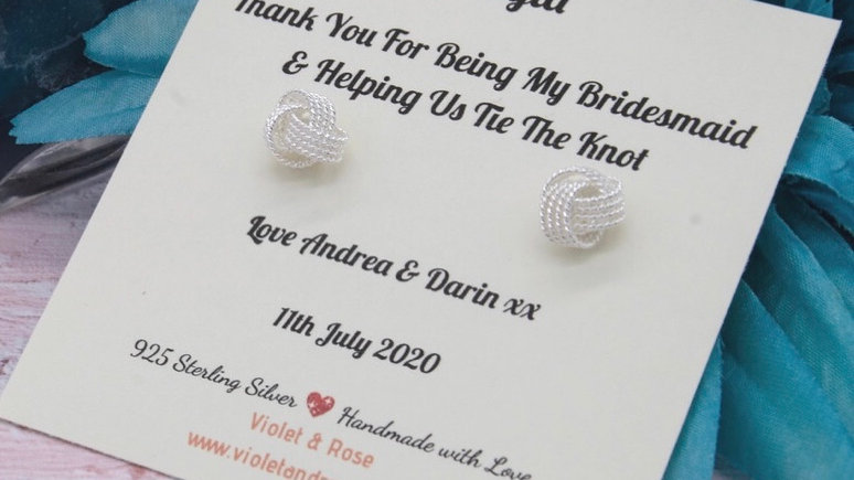 925 Sterling Silver Tie The Knot Earrings Gift