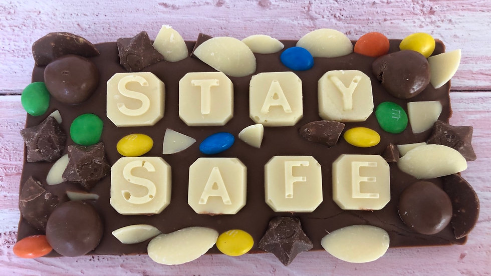 Charity Donation STAY SAFE Belgian Chocolate loaded Slab