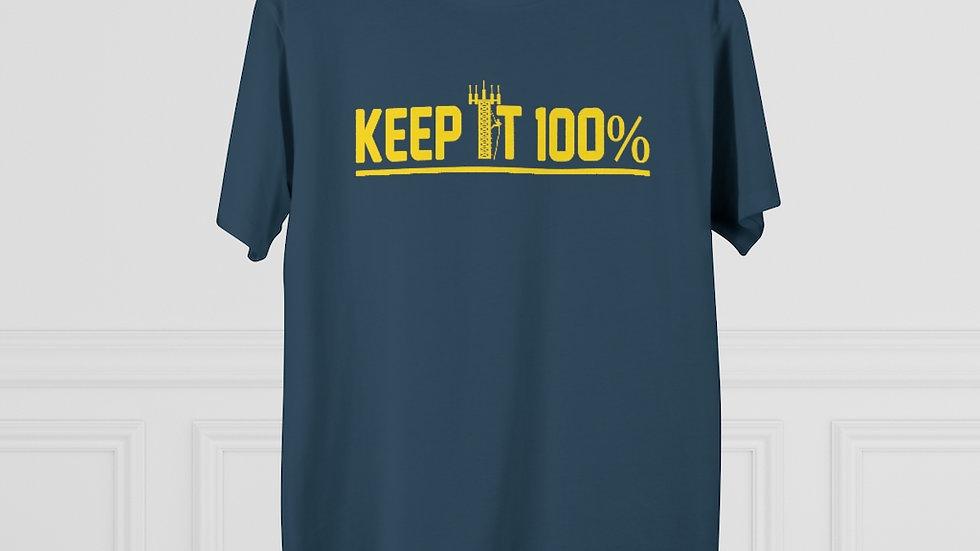 Keep It 100%–Men's Modern-fit Tee (Yellow Design)