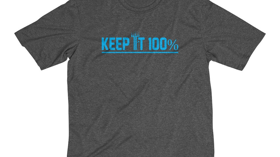 Keep It 100%–Men's Dri-Fit Tee (Blue Design)