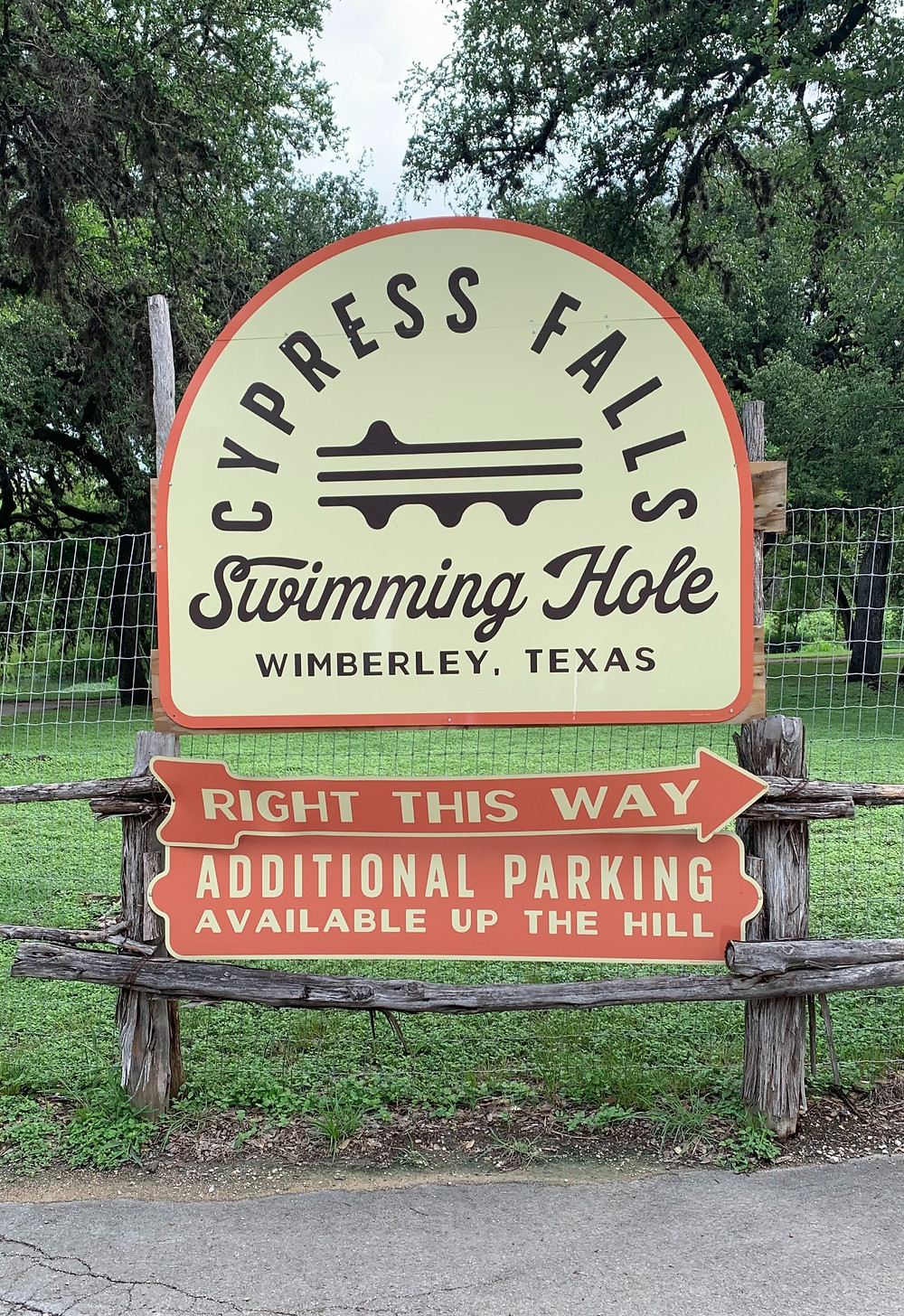 Cypress Falls Swimming Hole Sign