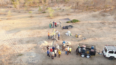 Aerial view of the drill site at Bonki
