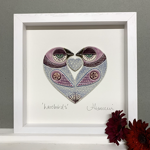 Small 'Lovebirds' Frame - blue/pink