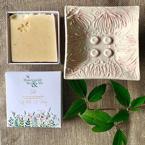 Cream/Pink Honeysuckle Soap Dish & Soap