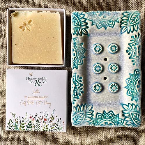 Blue/green Soap Dish & Soap