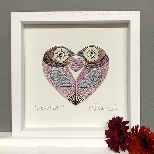 Small 'Lovebirds' Frame - Lilac/pink