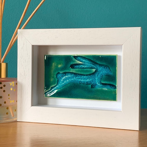 Mini 'Leaping Hare' Tile Green/Turquoise