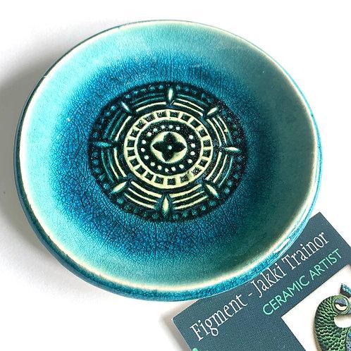 Turquoise/green mandala dish