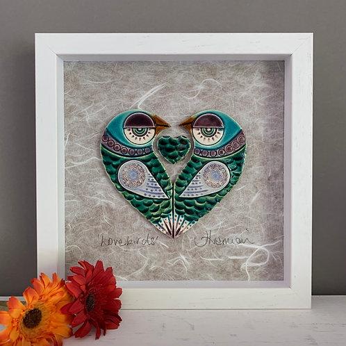 Small 'Lovebirds' Frame - green
