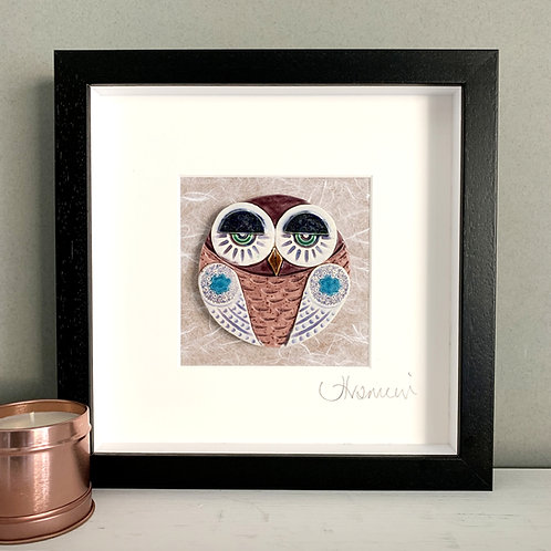 Small 'Owl' Frame - pink/blue
