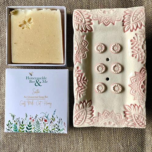 Cream/Pink Soap Dish & Soap