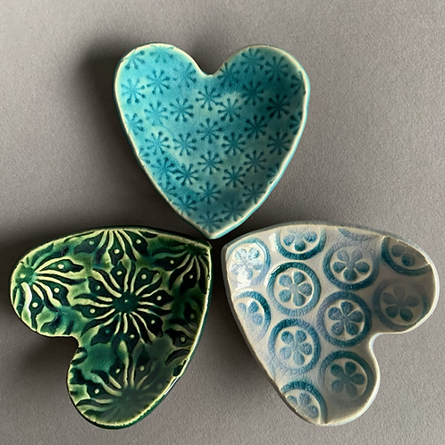 Trio of heart dishes - blue/green