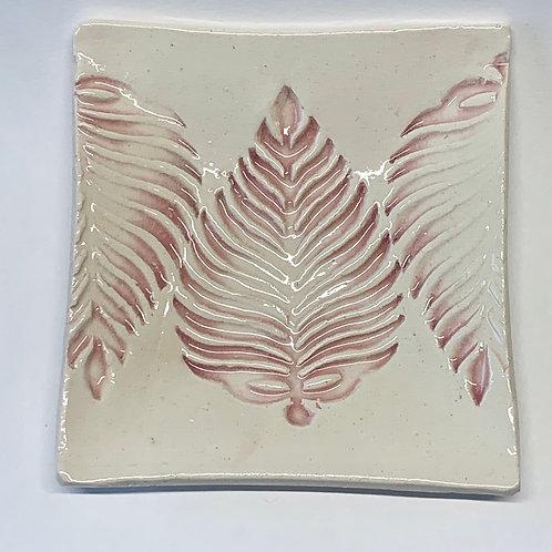Leaf Dish - pink/cream